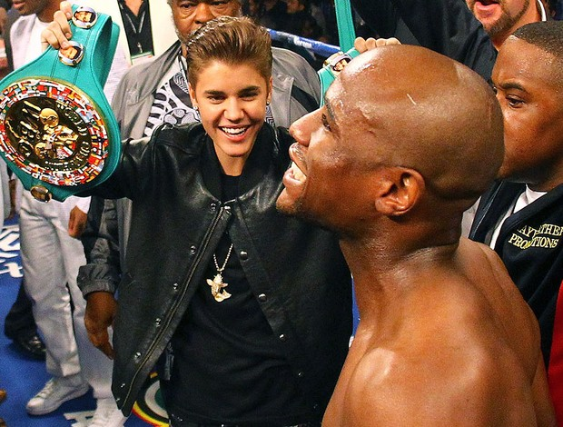 Justin Bieber na luta de Floyd Mayweather Jr. (Foto: Getty Images)