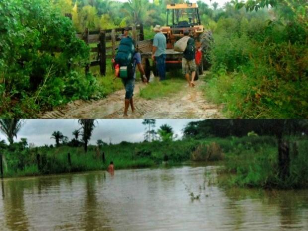 Imagem superior mostra o início do alagamento. Imagem inferior é a atual situação da localidade (Foto: Maria da Conceição/Arquivo Pessoal)
