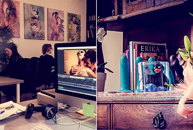 À esquerda, a Lust Films, escritório com cara de galeria de arte e dominado por mulheres. Ao lado, vibradores divertidos que colorem o ambiente e são um dos hits da loja virtual da cineasta (Foto: Arturo Querzoli)