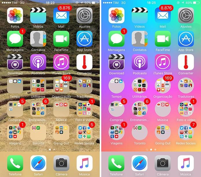 iOS pode ter pastas redondas sem que usuários instalem nada (Foto: Reprodução/Elson de Souza)