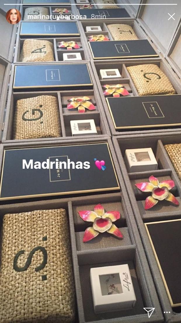 Presentes madrinhas Marina Ruy Barbosa (Foto: Reprodução/ Instagram)