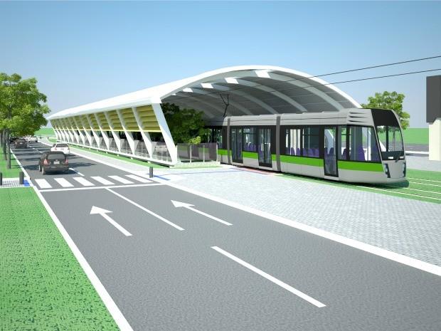 Estação Aeroporto e outras sete deverão atender passageiros do VLT no trecho de Várzea Grande. (Foto: Consórcio VLT Cuiabá-Várzea Grande)