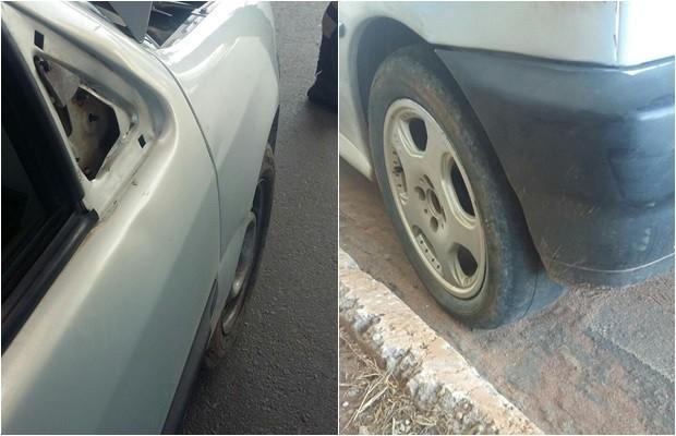 Carro dirigido por cadeirante não tinha retrovisor e apresentava pneus carecas, em Goiás (Foto: Divulgação/PRF)