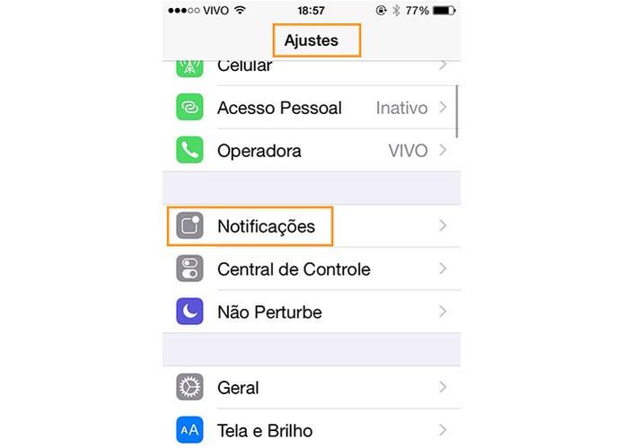 Acesse os ajustes do iPhone e selecione notificações (Foto: Reprodução/Barbara Mannara)