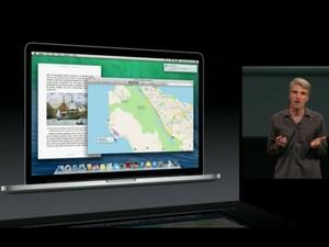 Craig Federighi, vice-presidente de engenharia de software da Apple, apresenta o novo sistema operacional para computadores de mesa, OS X Mavericks. (Foto: Reprodução/Apple)