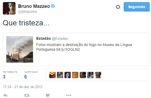 Bruno Mazzeo lamenta incêndio em museu de São Paulo (Foto: Twitter / Reprodução)