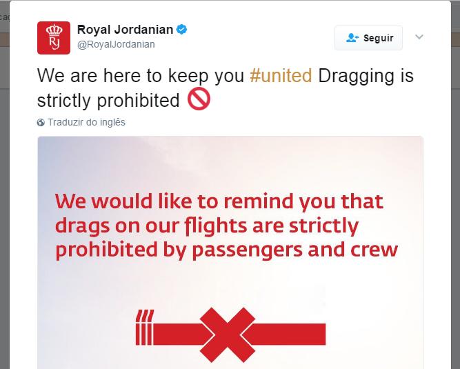 Royal Jordanian também cutucou a concorrente (Foto: Reprodução/Twitter)