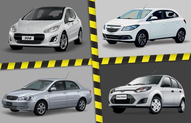 Recalls em 2014: Peugeot 308, Chevrolet Onix, Toyota Corolla e Ford Fiesta Rocam estão na lista de carros convocados (Foto: Autoesporte)