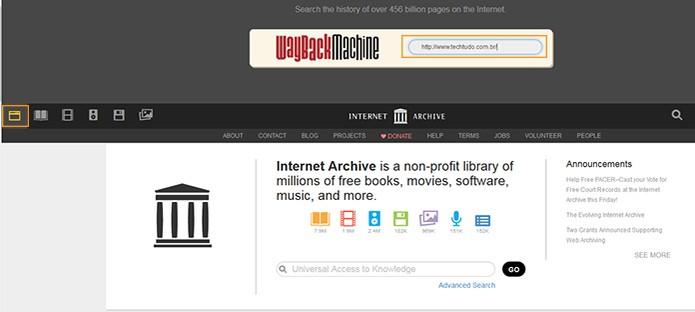 Busca por páginas web no acerto do Internet Archive (Foto: Reprodução/Barbara Mannara)