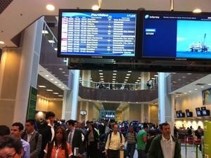 Painel do Santos Dumont mostra atrasos e cancelamentos nesta tarde (Foto: G1)