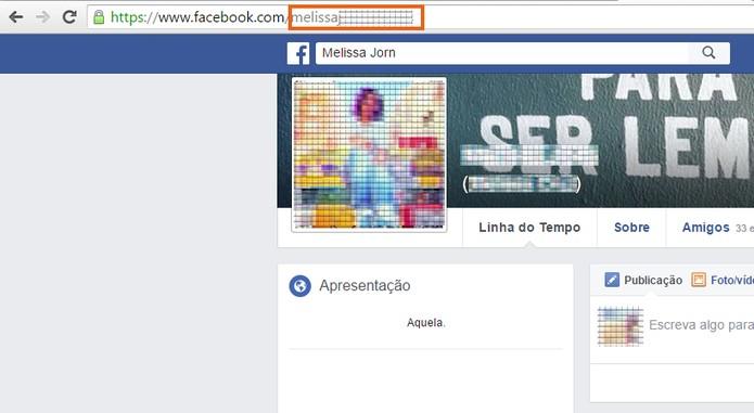 Copie o nome de usuário no link de perfil da outra pessoa do Facebook (Foto: Reprodução/Barbara Mannara)
