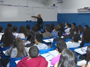 Sala de aula em São José dos Campos (Foto: Reprodução/ TV Vanguarda)