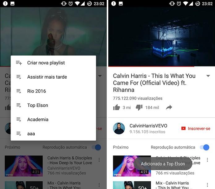 YouTube mostra listas já existentes e dá opção de criar nova com o vídeo (Foto: Reprodução/Elson de Souza)
