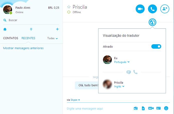 Para ativar o tradutor, procure pelo ícone de globo na janela de conversa (Foto: Reprodução/Paulo Alves)
