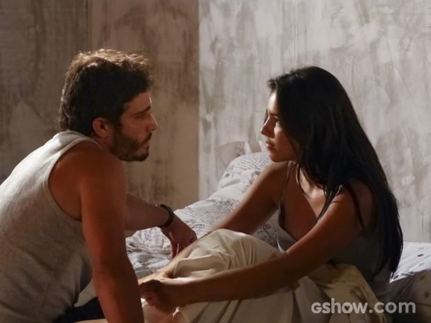 Celina diz que se sente segura ao lado de William (Foto: Além do Horizonte/TV Globo)