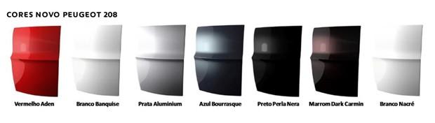 Opções de cores do Peugeot 208 2017 (Foto: Divulgação)
