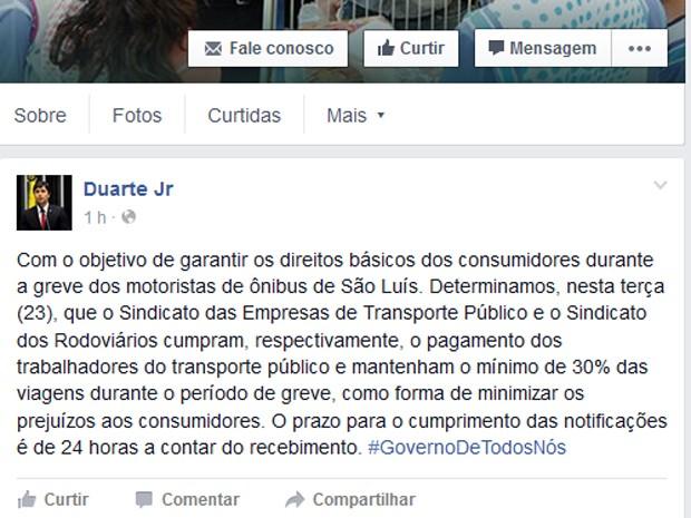 Duarte Júnior divulga nota sobre greve dos rodoviários em São Luís  (Foto: Foto/Reprodução)