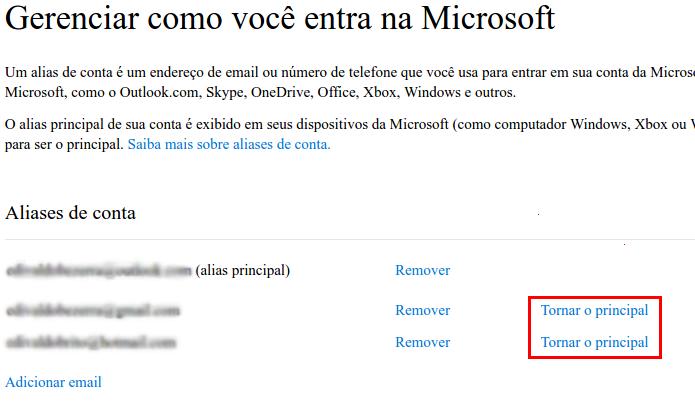 Colocando o novo e-mail como o principal da conta Microsoft (Foto: Reprodução/Edivaldo Brito)