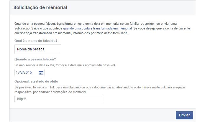 Página só permite nomes de amigos do usuário (foto: Reprodução/Facebook)