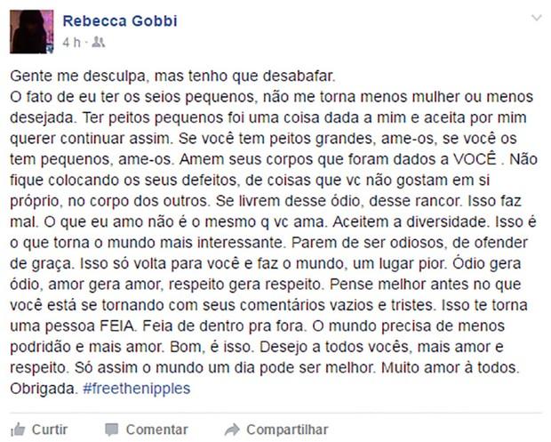 Rebecca Gobbi (Foto: Reprodução / Facebook)