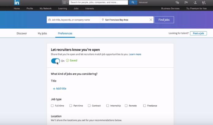Nova função do Linkedin permite buscar emprego de forma discreta (Foto: Divulgação/Linkedin)