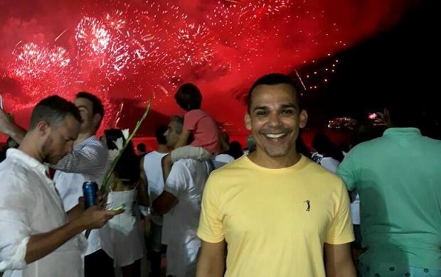 Jornalista da Rede Amazônica Acre comemorou o Revéillon em Copacabana, no Rio (Foto: Paulo Henrique Nascimento/Arquivo Pessoal)