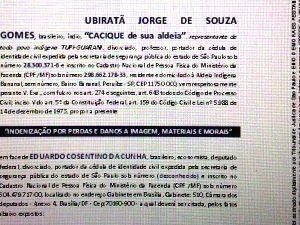Cacique pede indenização a Eduardo Cunha (Foto: Arquivo Pessoal)