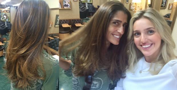 Cynthia Howlett e a colorista Gabriela Balan, do TP Beauty Lounge (Foto: Reprodução do Instagram)