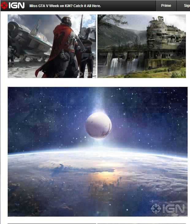 Site 'IGN' publicou imagens do game 'Destiny' que vazaram (Foto: Reprodução)