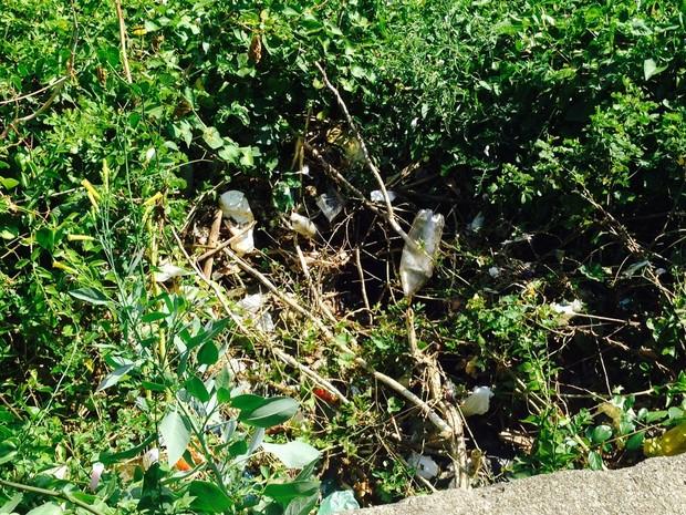 Lixo é deixado nas encostas da Avenida Niemeyer (Foto: Lívia Torres/G1)