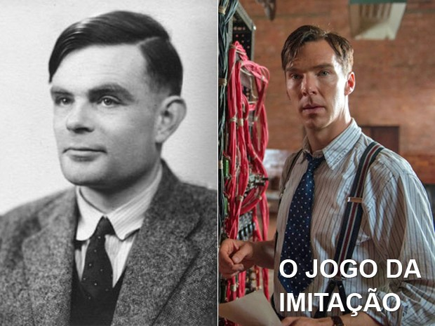 À esquerda, o matemático britânico Alan Turing, e, à dir., o ator Benedict Cumberbatch em 'O jogo da imitação' (Foto: AFP e Divulgação)