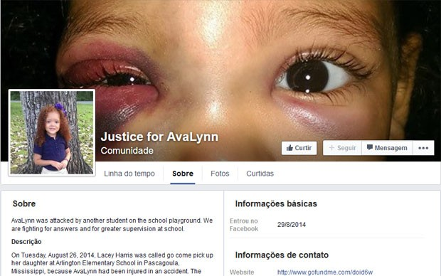 Mãe criou página no Facebook para falar do incidente com a filha (Foto: Reprodução/Facebook/Justice for AvaLynn)