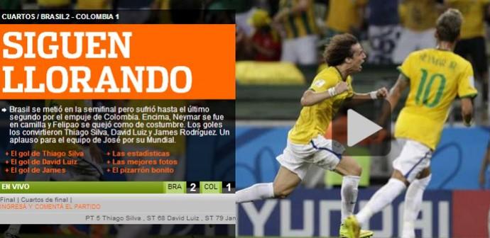 """Jornal Olé Vitória Brasil x Colômbia (Foto: Reprodução/""""Olé"""")"""