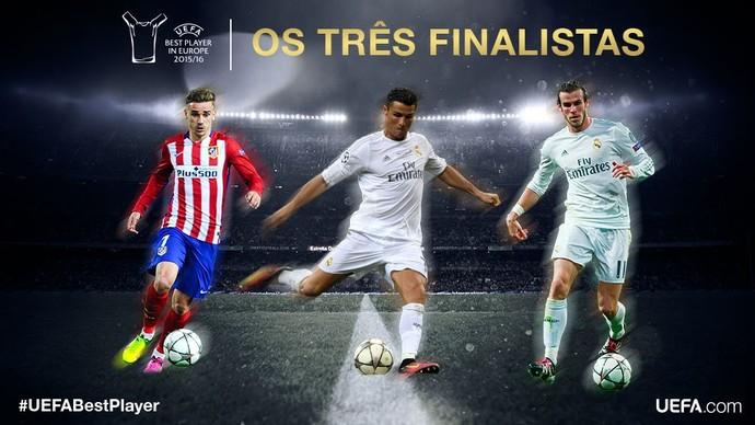 Cristiano Ronaldo Bale Griezmann prêmio melhor jogador da Europa Uefa (Foto: Reprodução/Twitter)