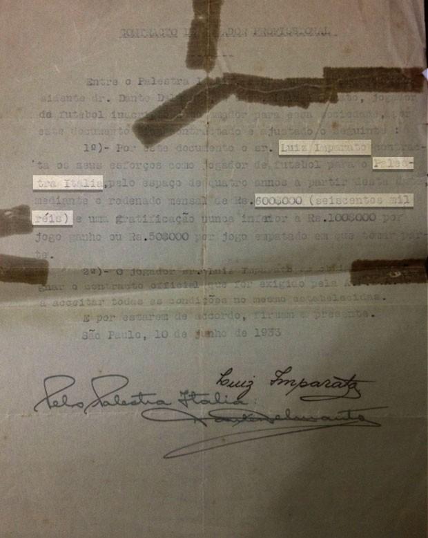 contrato de Luiz Imparato, jogador do Palestra Itália, antigo Palmeiras (Foto: Arquivo Pessoal)