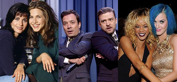 Jennifer Aniston e Courteney Cox, Jimmy Fallon e Justin Timberlake, Rihanna e Katy Perry (Foto: Divulgação / Getty Images)