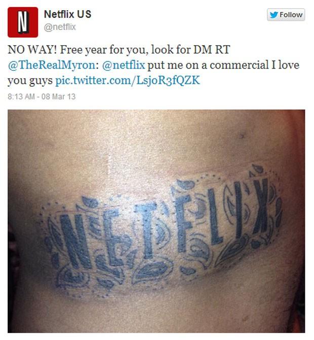 Netflix retuitou a imagem da tatuagem e deu um ano grátis do serviço para o homem (Foto: Reprodução)