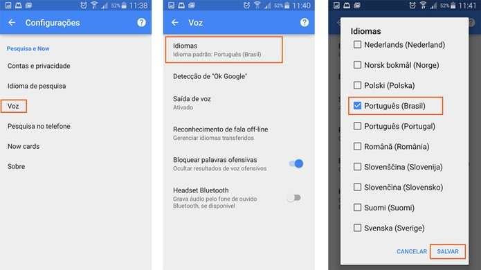 Altere a voz do Google Now para português (Foto: Reprodução/Barbara Mannara)