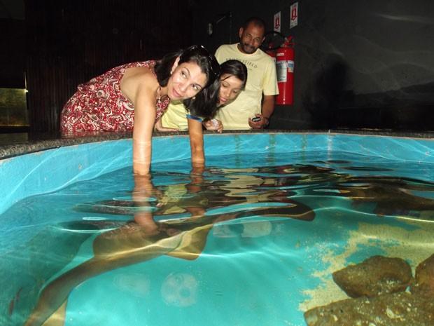 Ana Paula Duarte saiu de Brasília para passar a mão num tubarão em Natal (Foto: Henrique Dovalle/G1)
