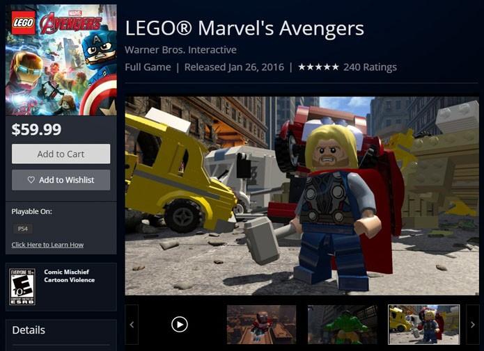 Página do game na PlayStation Store (Foto: Reprodução/André Mello)