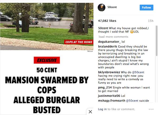 O post de 50 Cent no Instagram fazendo piada com a invasão em sua casa (Foto: Instagram)