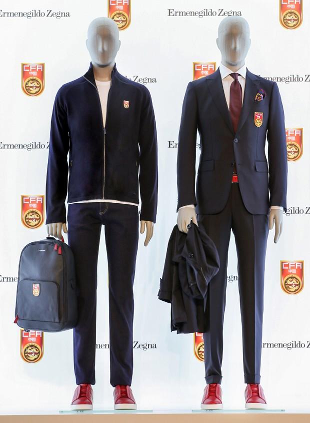 Novos trajes da seleção chinesa de futebol assinados pela Ermenegildo Zegna (Foto: Divulgação)
