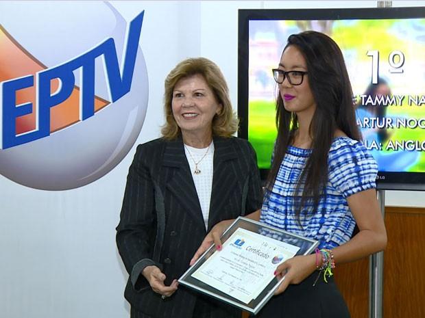 Primeira colocada no EPTv na Escola 2016 em Campinas (Foto: Reprodução / EPTV)