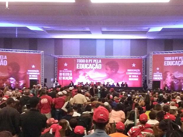 """PT realiza """"Ato pela Educação"""" em Brasília, com a participação de Lula (Foto: Gustavo Garcia/G1)"""