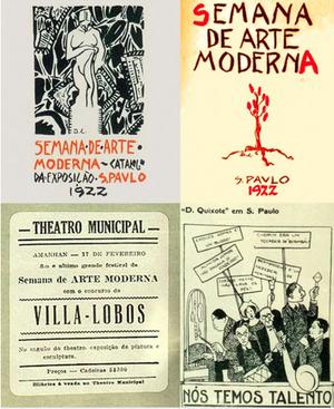 Cartazes de divulgação da Semana de Arte Moderna, de 1922 (Foto: Reprodução)
