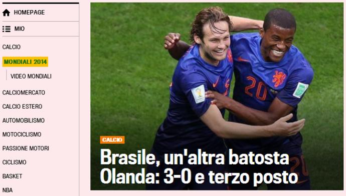 """Gazzetta dello Sport destaca """"outra surra"""" levada pelo Brasil (Foto: Reprodução/Gazzetta dello Sport)"""