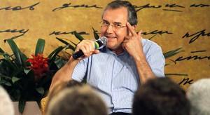 Entre risos e reflexões, Laurentino e Eduardo Bueno falam de história (Egi Santana/G1 BA)