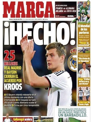 Capa jornal Marca, Toni Kroos (Foto: Reprodução)