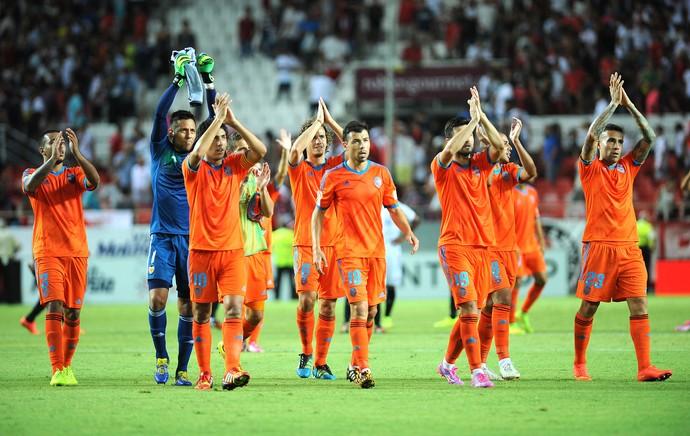 Comemoração do Valencia contra o Sevilla (Foto: Agência AFP)