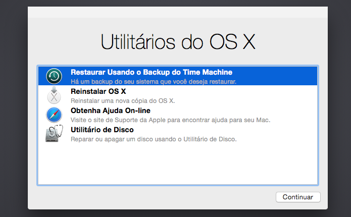 Restaurando backup do Time Machine (Foto: Reprodução/Helito Bijora)
